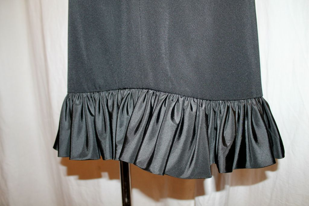 Vintage Nina Ricci Black Crepe/Silk Taffeta Halter Dress-Sz 6- 80's For Sale 1