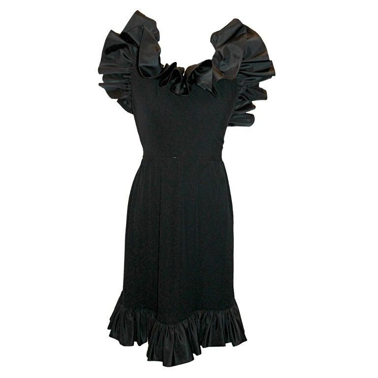 Vintage Nina Ricci Black Crepe/Silk Taffeta Halter Dress-Sz 6- 80's