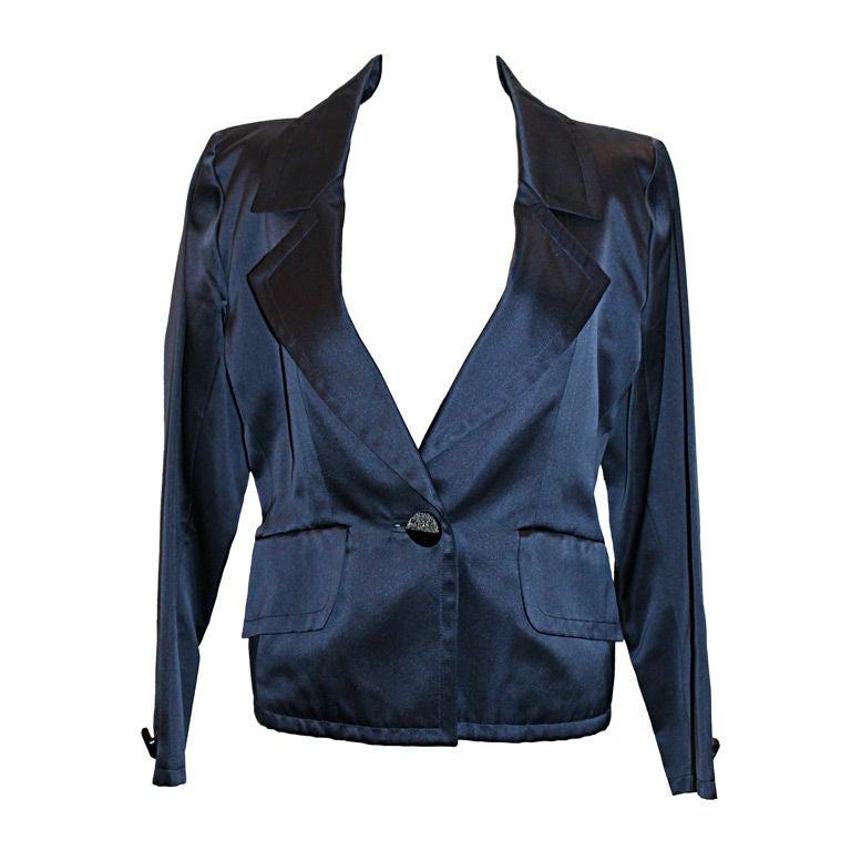 Vintage YSL Navy Satin Smoking jacket- Size 36