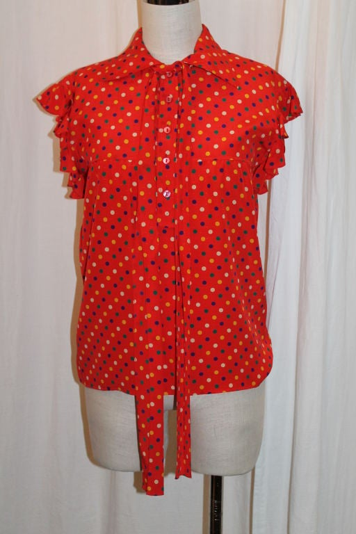 YSL Red With Multi Color Polka Dot Silk Blouse~36 2