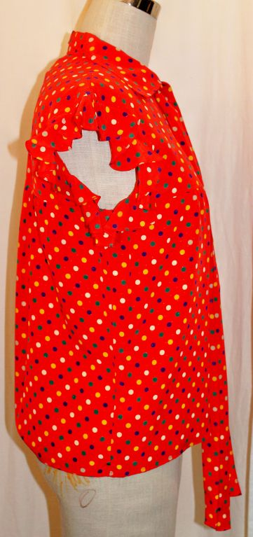 YSL Red With Multi Color Polka Dot Silk Blouse~36 3