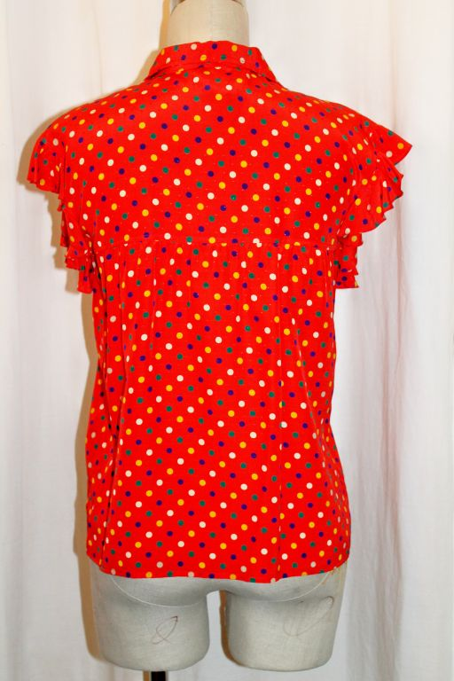 YSL Red With Multi Color Polka Dot Silk Blouse~36 4