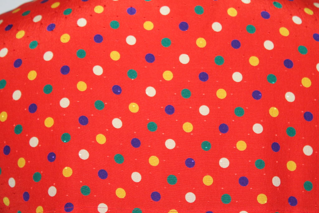 YSL Red With Multi Color Polka Dot Silk Blouse~36 5