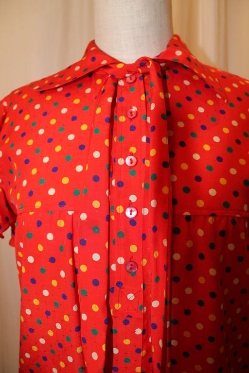 YSL Red With Multi Color Polka Dot Silk Blouse~36 7