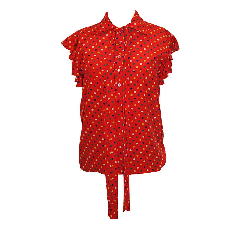 YSL Red With Multi Color Polka Dot Silk Blouse~36 1