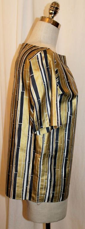 YSL Gold and Black Bamboo Print Blouse - 38 - 1990's  In Excellent Condition For Sale In Palm Beach, FL