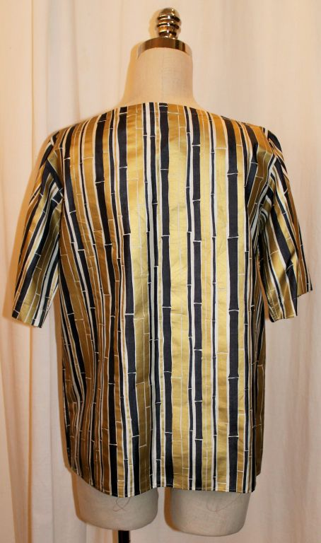 Women's YSL Gold and Black Bamboo Print Blouse - 38 - 1990's  For Sale
