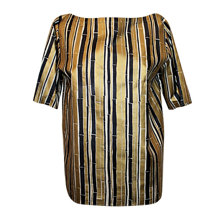 YSL Gold and Black Bamboo Print Blouse - 38 - 1990's