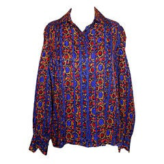 YSL Silk Multi Color Long Sleeve Blouse~38