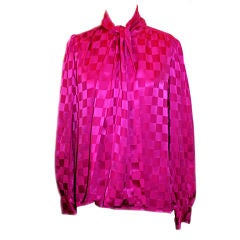 Vintage YSL Fuschia Silk checkered blouse - Size 8 Circa 80's