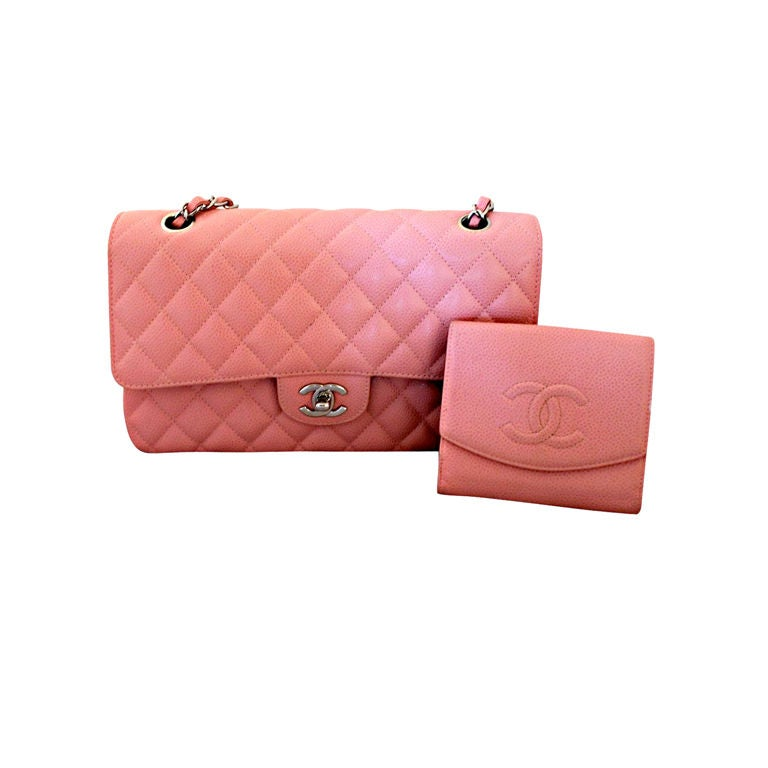 2472ac555591 Chanel soft pink caviar leather double flap bag-medium at 1stdibs