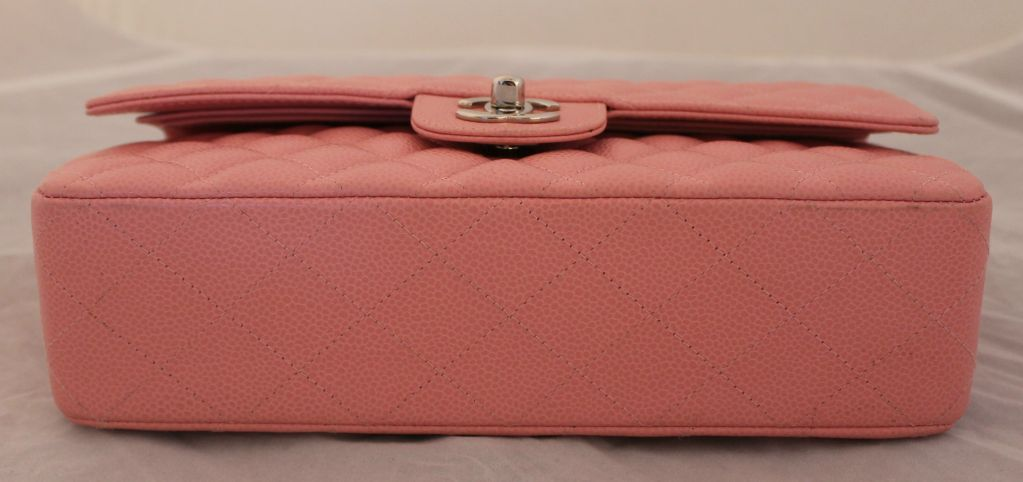 a9fe955aaef7 Chanel soft pink caviar leather double flap bag-medium at 1stdibs