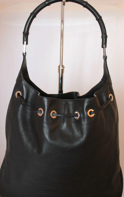 Gucci Bamboo Handle Black Leather Hobo Handbag At 1stdibs