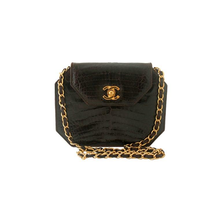 Vintage Chanel Mini Chocolate Crocodile Handbag At 1stdibs