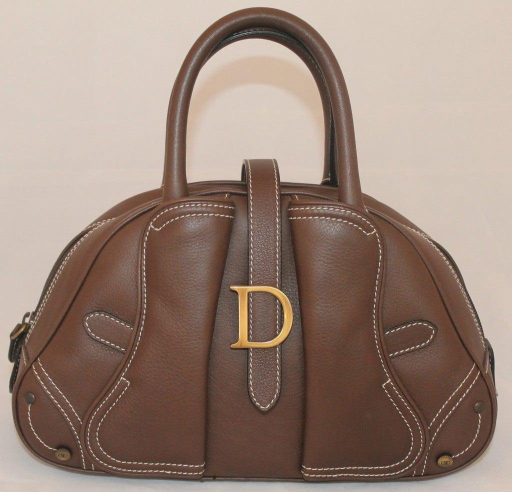 Dior Brown Leather Top Handle Mini Bag 3KwtV1bka