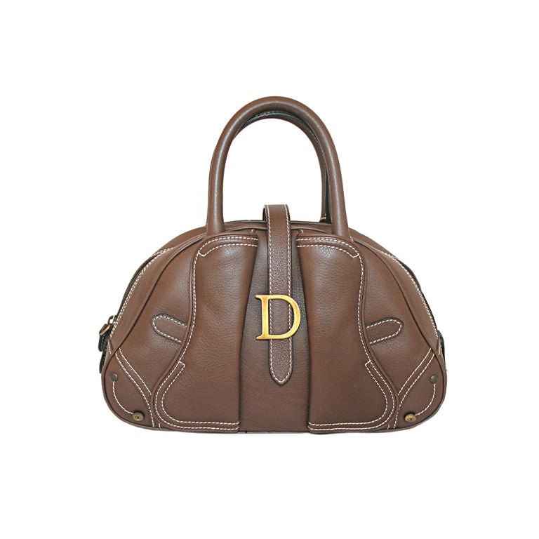 Christian Dior Brown Leather Top Handle Mini Bag