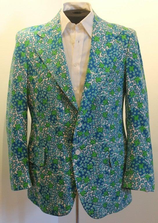 vintage lilly pulitzer mens stuff blue  green flower sport jacket at 1stdibs
