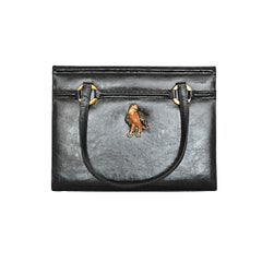 Vintage Martin van Schaak Black Leather Handbag with Eagle Brooch