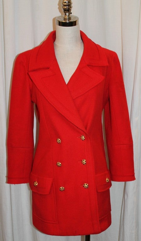 Chanel Vintage Red Wool Double Breasted Jacket 2