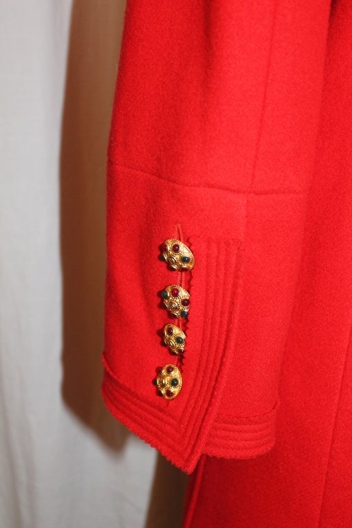 Chanel Vintage Red Wool Double Breasted Jacket 6