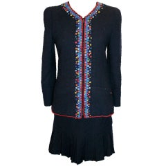 Chanel Vintage Boutique Navy Wool Skirt Suit
