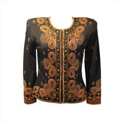 Adrienne Vittadini Black Beaded and Jeweled Wool Jacket