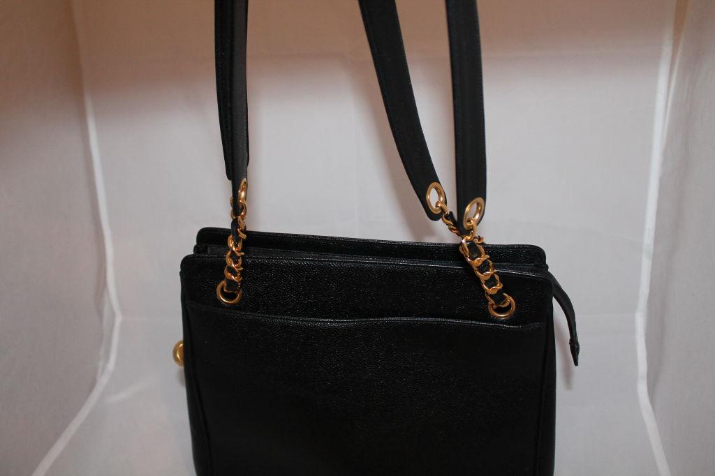 Vintage Chanel Black Caviar Leather Logo Shoulder Bag-Circa 90's For Sale 1