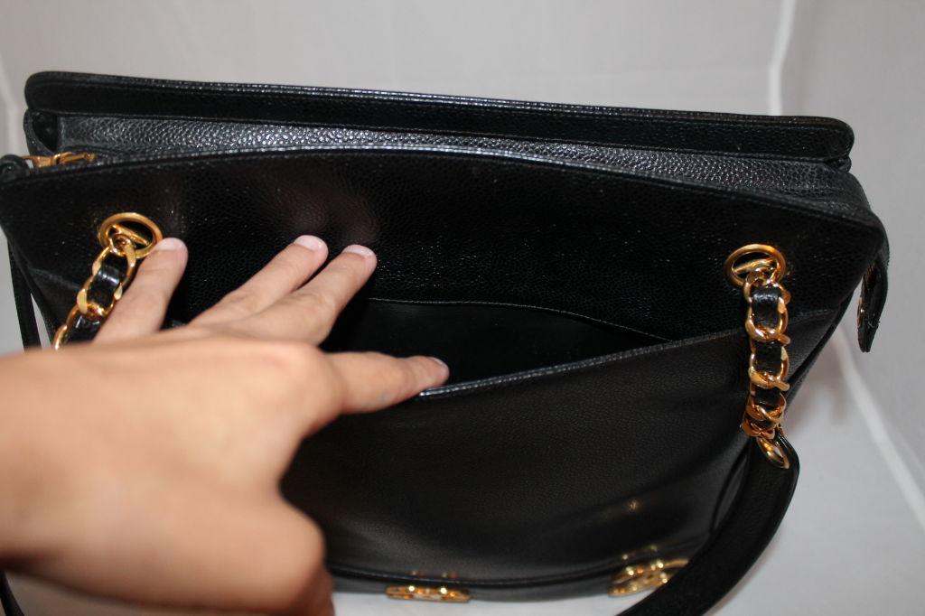 Vintage Chanel Black Caviar Leather Logo Shoulder Bag-Circa 90's For Sale 2