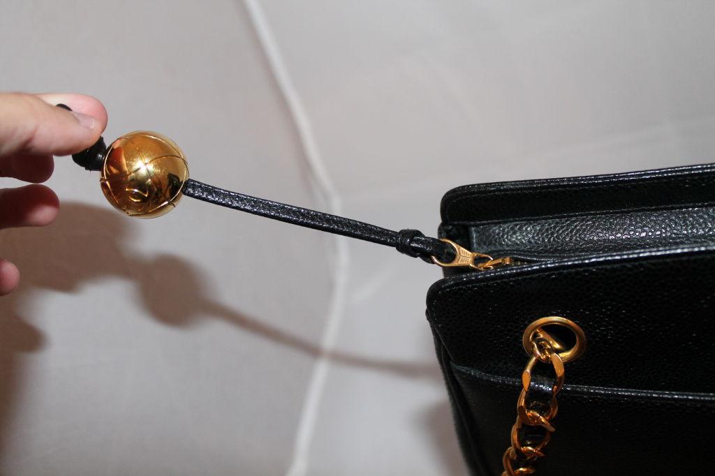 Vintage Chanel Black Caviar Leather Logo Shoulder Bag-Circa 90's For Sale 3