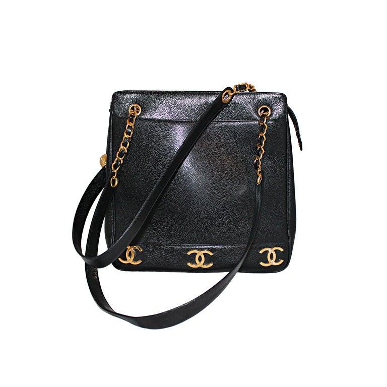 Vintage Chanel Black Caviar Leather Logo Shoulder Bag-Circa 90's For Sale