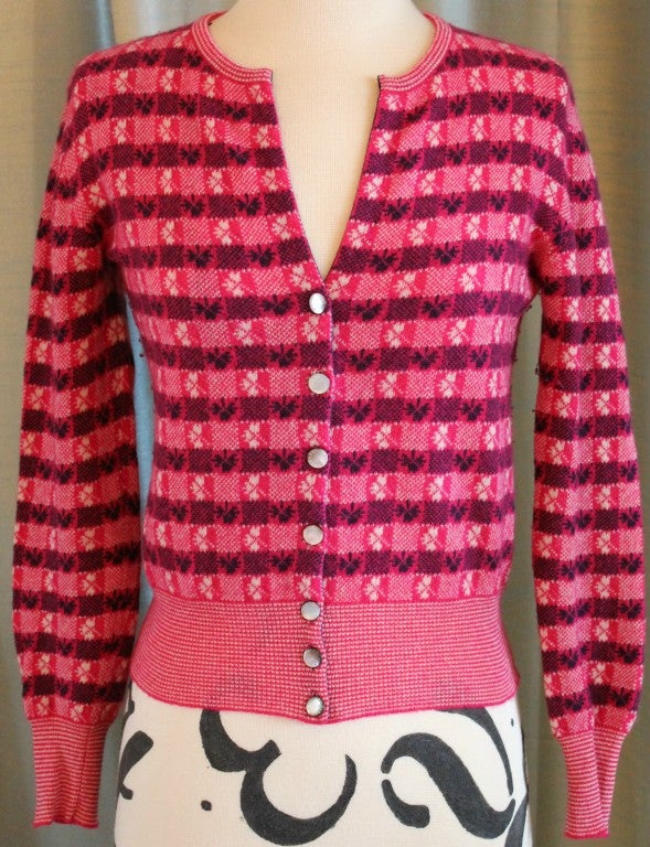 Chanel Pink Print Cashmere Cardigan - Sz 36 - Circa 01P 2