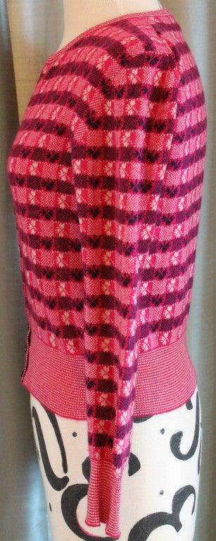 Chanel Pink Print Cashmere Cardigan - Sz 36 - Circa 01P 3