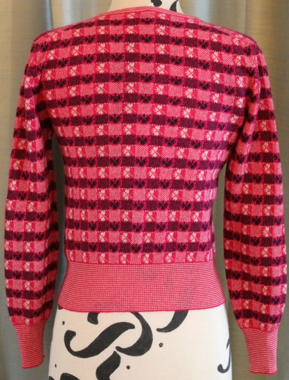 Chanel Pink Print Cashmere Cardigan - Sz 36 - Circa 01P 4
