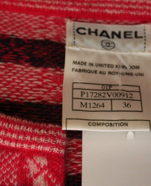 Chanel Pink Print Cashmere Cardigan - Sz 36 - Circa 01P 7