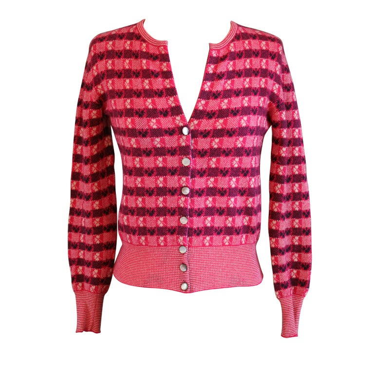 Chanel Pink Print Cashmere Cardigan - Sz 36 - Circa 01P at 1stdibs