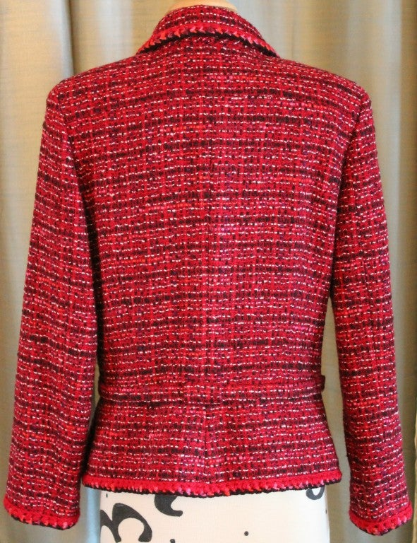 Chanel Pink Tweed Jacket with Belt For Sale 4