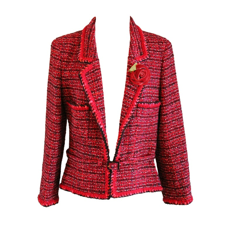 Chanel Pink Tweed Jacket with Belt For Sale