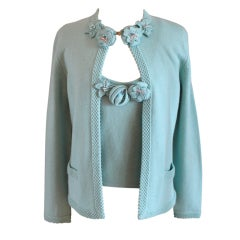 Chanel Turquoise Cashmere Cardigan Set with Detachable Flowers - 40 - 05P