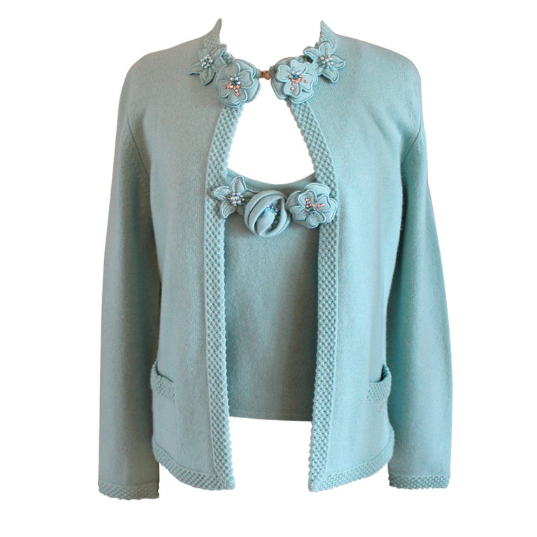 Chanel Turquoise Cashmere Cardigan Set with Detachable Flowers ...