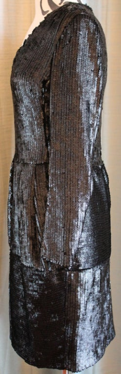Women's Yves Saint Laurent Black Cavier Sequin Evening Dress - 38 For Sale