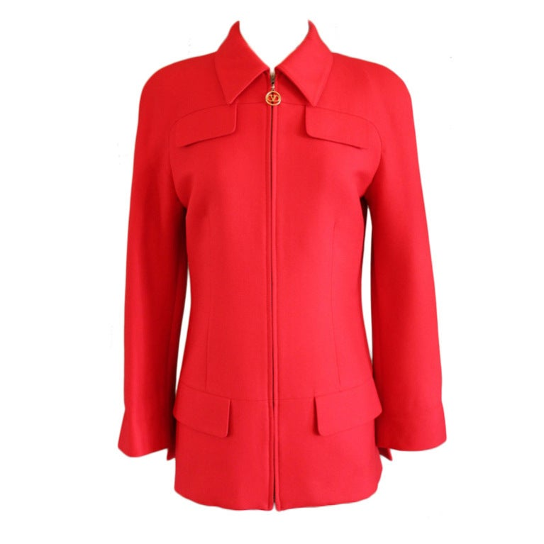 Valentino Red Long Hunting Jacket-6