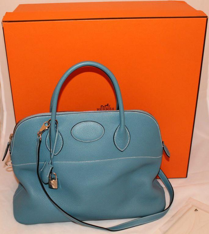 hermes shoulder bags - Hermes Denim Blue Clemence Bolide Bag-35cm at 1stdibs