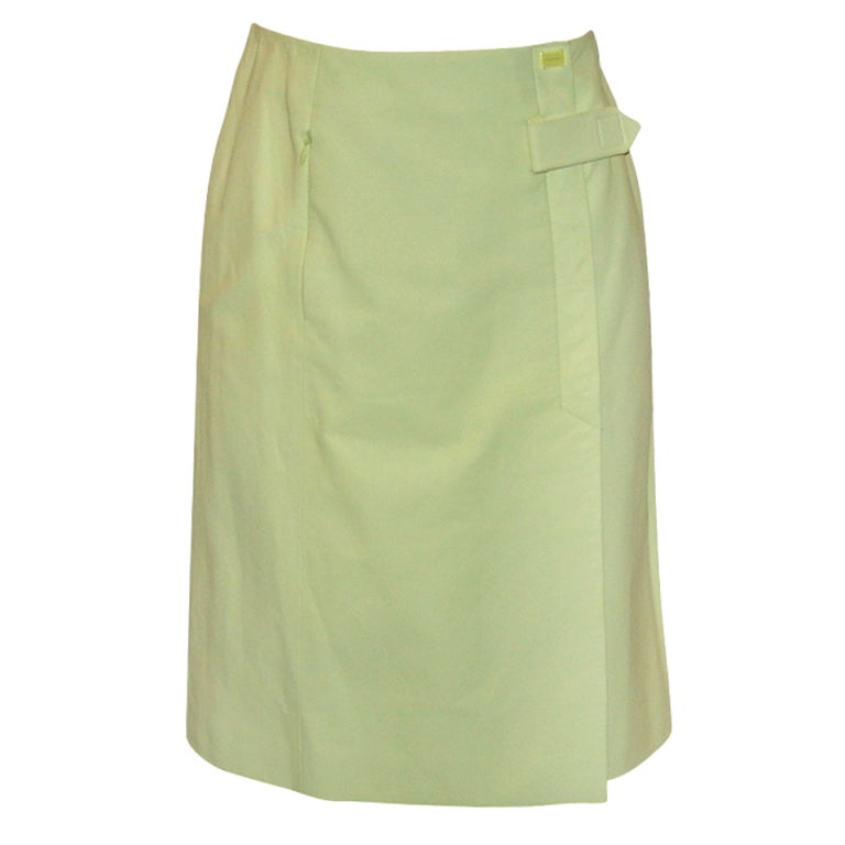 Chanel Light Chartreuse Leather Wrap Skirt - size 36 - 04C - NWT