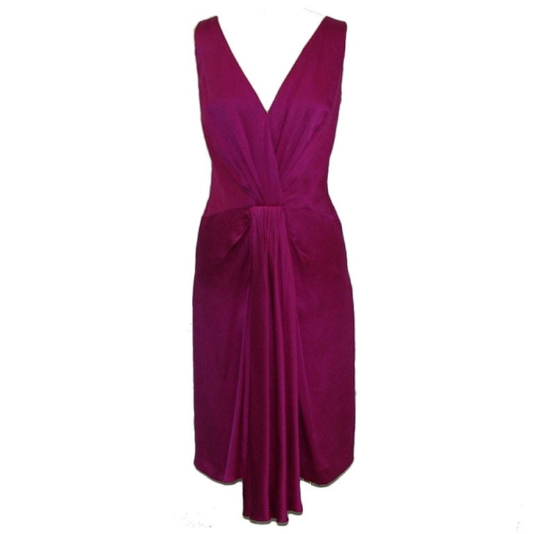 Christian Dior fuschia silk dress 1
