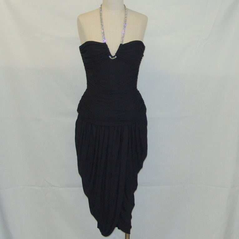 Vicky Tiel black halter dress with rhinestones 2