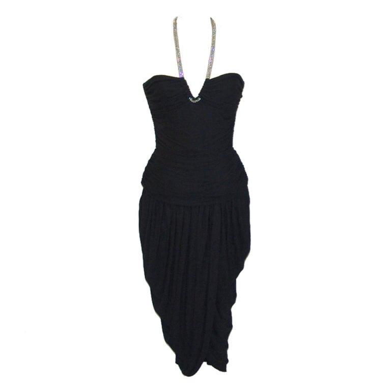 Vicky Tiel black halter dress with rhinestones 1