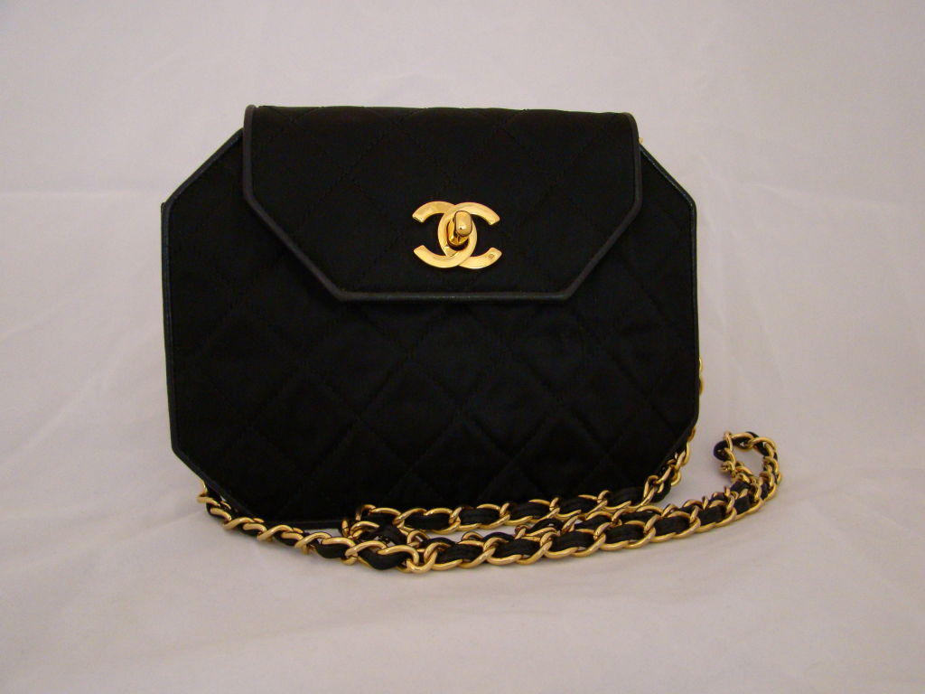 Chanel Hexagonal Black Satin Evening Bag 2