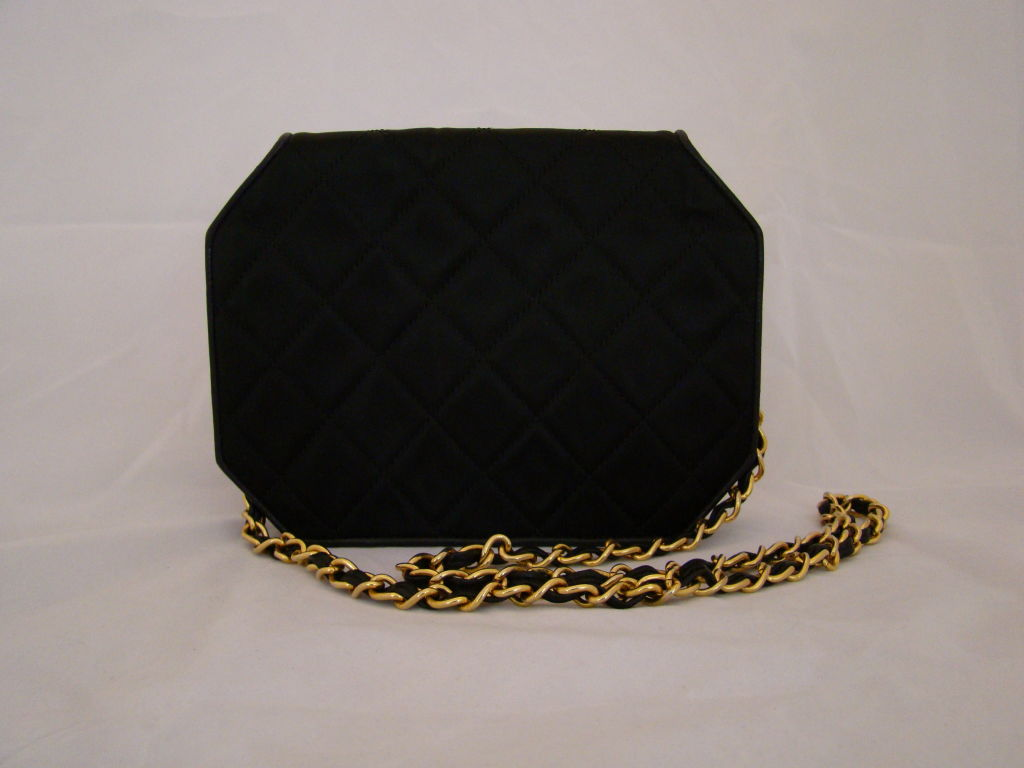 Chanel Hexagonal Black Satin Evening Bag image 3