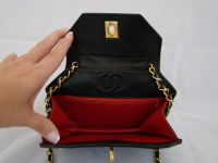 Chanel Hexagonal Black Satin Evening Bag thumbnail 4