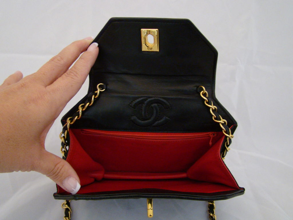 Chanel Hexagonal Black Satin Evening Bag image 4